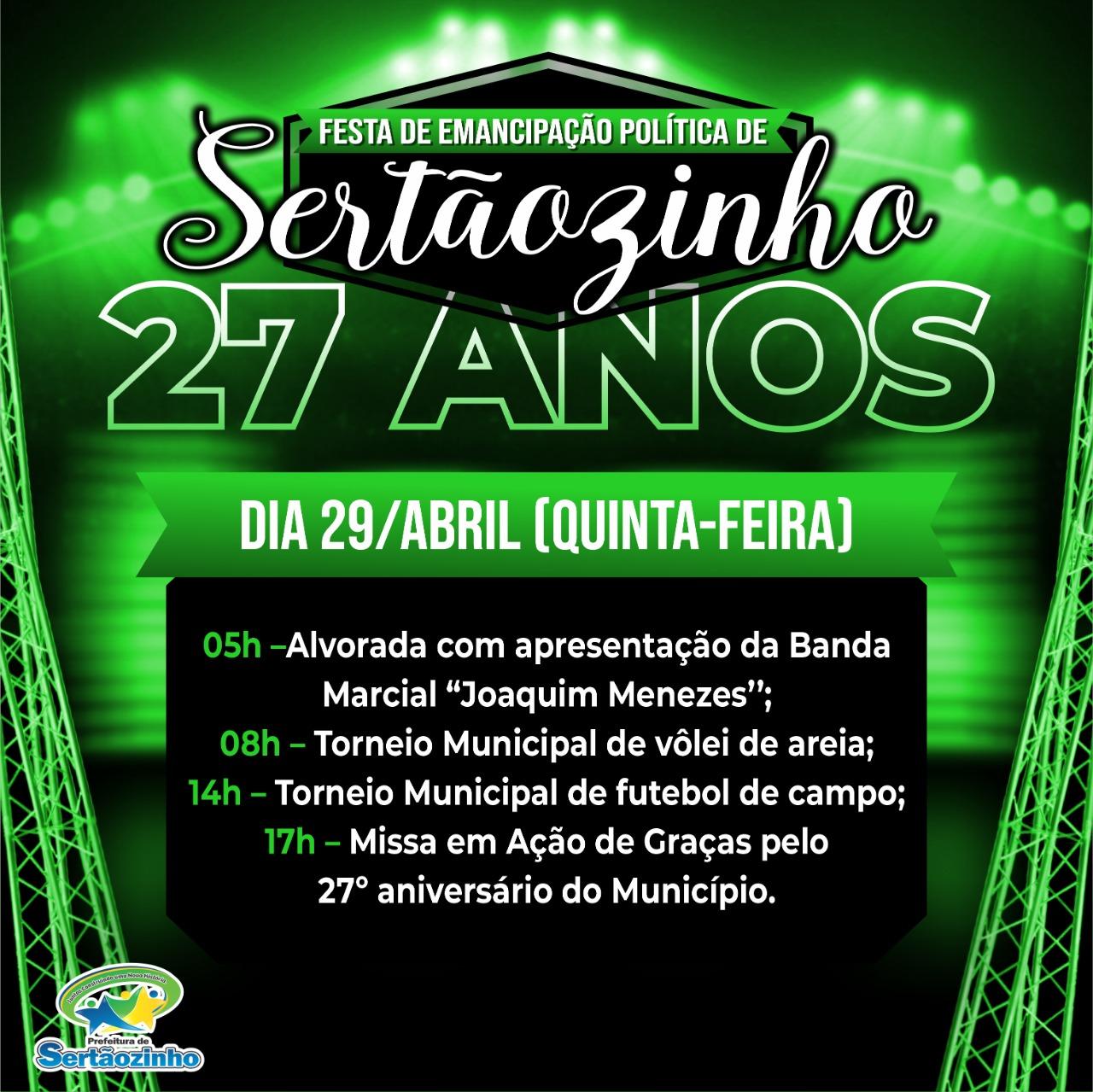 """Programação 4º dia de festividade em alusão a """"Festa de Emancipação Política de Sertãozinho"""""""