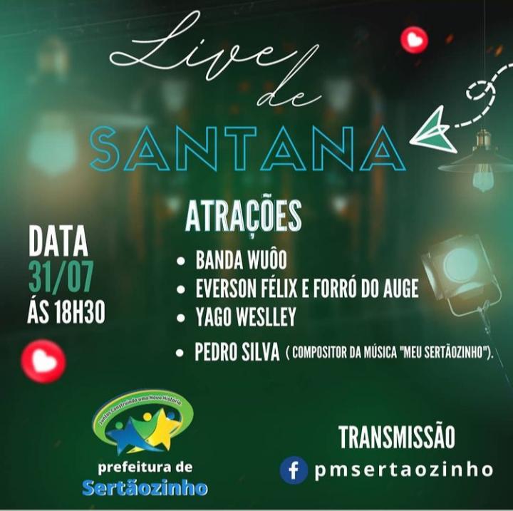 """Programação da live da tradicional """"Festa de Sant' Ana"""""""